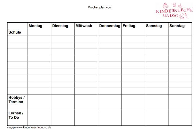 Schulstundenplan mit Platz für Hobbys und Lernzielen