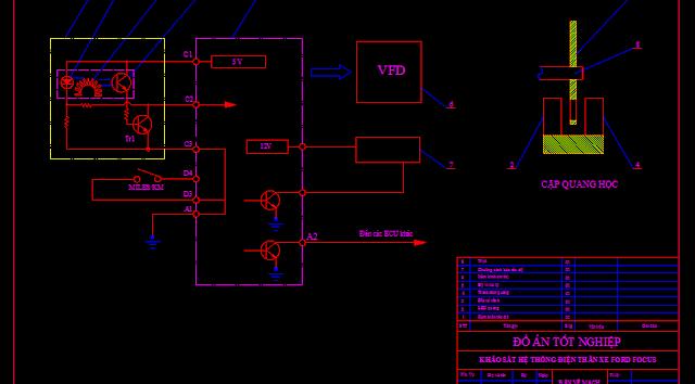 Bản vẽ mạch điện đồng hồ tốc độ xe ford