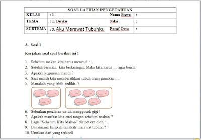 SoalPenilaian Harian Kelas 1 Tema 1 Diriku Sub Tema 3 Aku Merawat Tubuhku