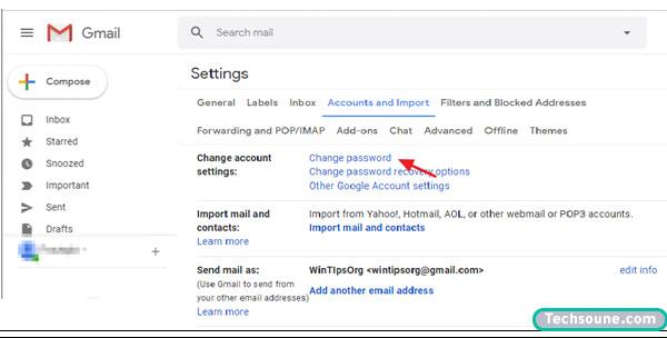 تغيير كلمة المرور Gmail 1