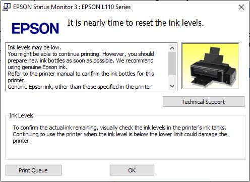 Mengatasi lampu indikator tinta nyala Printer Epson L110, L120, L210