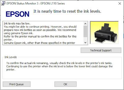 reset printer L110, L120, L210, L220, L300, L350, L360