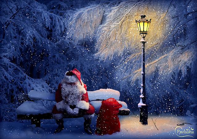 Фотоколлаж с Санта Клаусом в Фотошопе