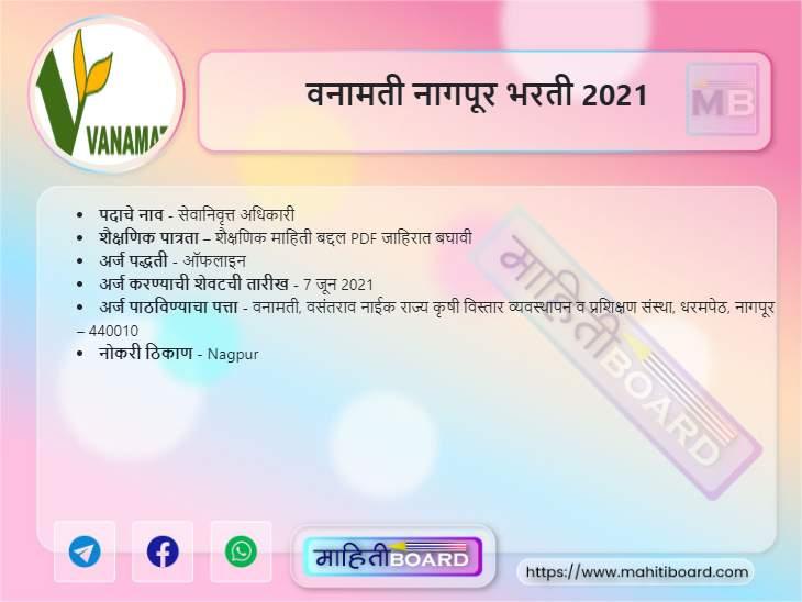 Vanamati Nagpur Bharti 2021
