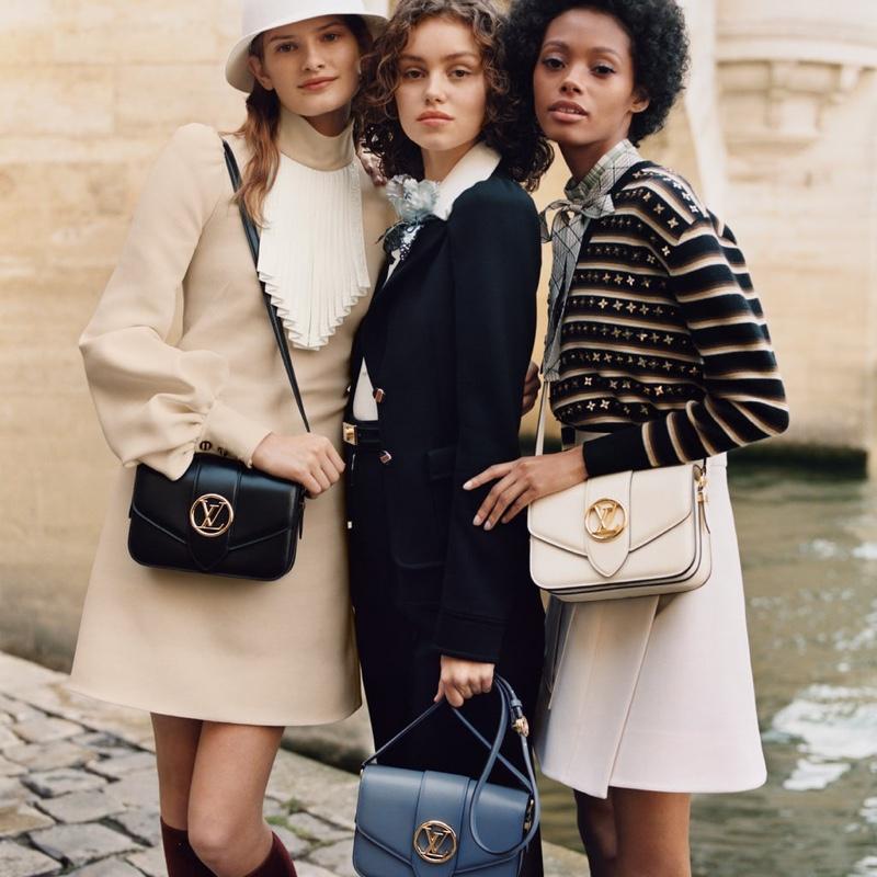 Signe, Caroline & Londone Front Louis Vuitton 'LV Pont 9' Handbag Campaign