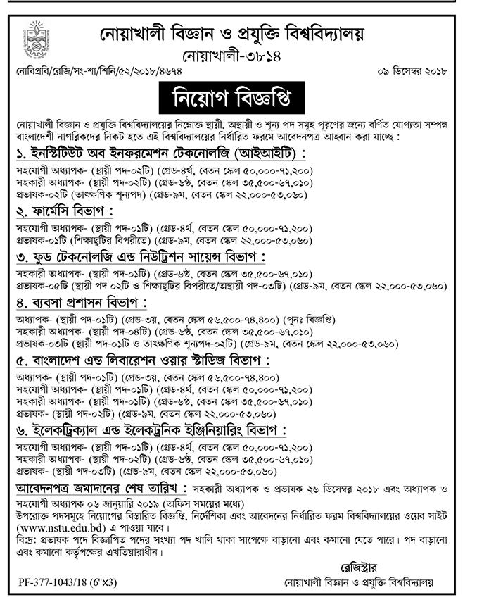 Noakhali Science and Technology University (NSTU) Job Circular 2018