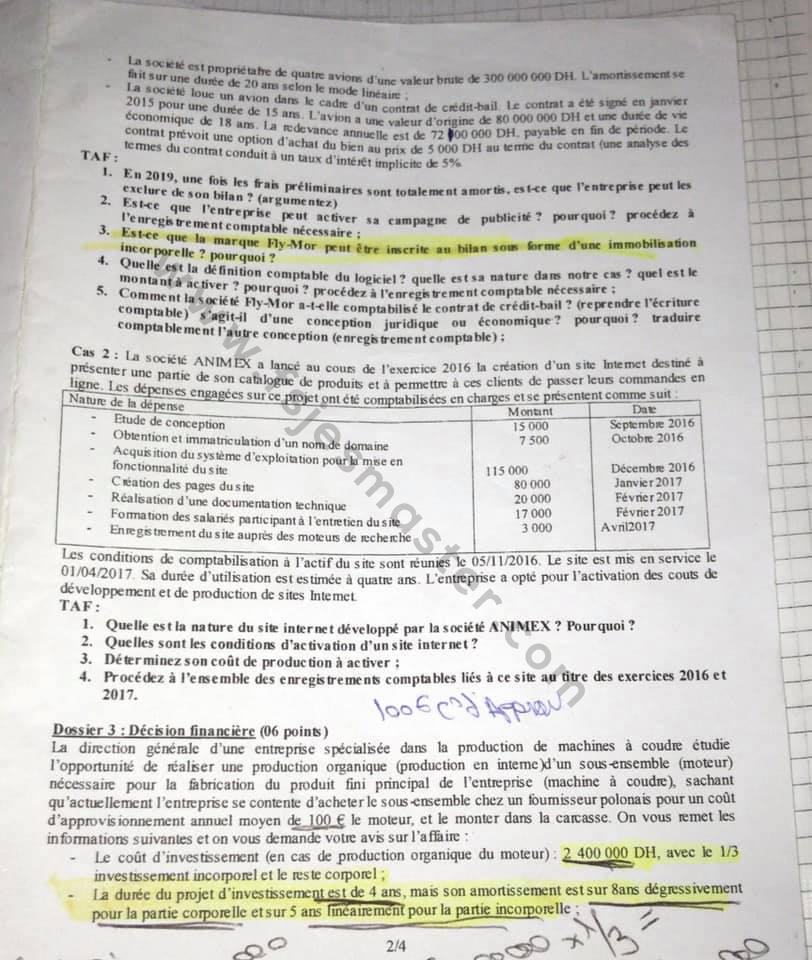 Exemple Concours d'accès au Master Comptabilité Contrôle Audit (CCA) 2018-2019 - Fsjes Souissi