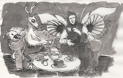 Tea isn't just good for monsters. Drawing of two monsters drinking tea on a sofa with another looking on. Drawing by David Borden