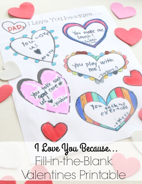 Tell a special family member or friend all the reasons you love them with our I Love You Because Fill-in-the-Blank Valentines Printable.