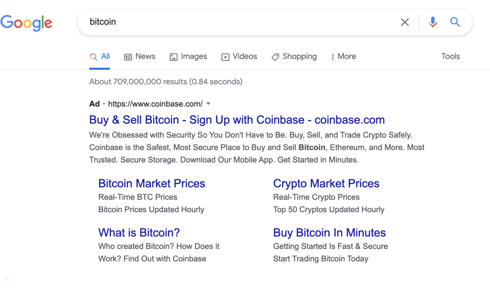 Coinbase'in Google'daki Bitcoin reklamı