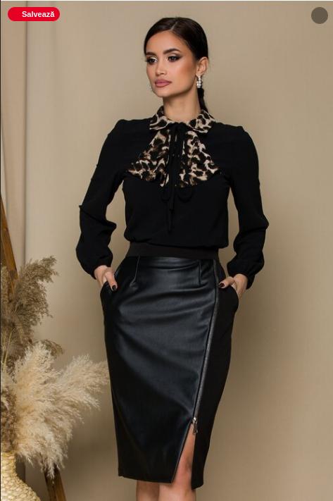 Bluza eleganta de zi neagra cu volanase animal print