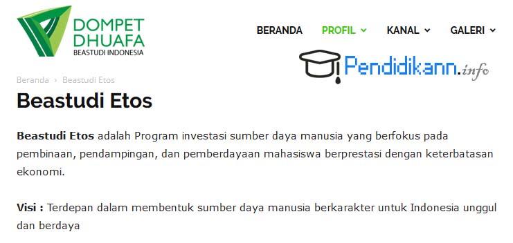 Info Beasiswa Etos Dompet Dhuafa Beastudi Indonesia