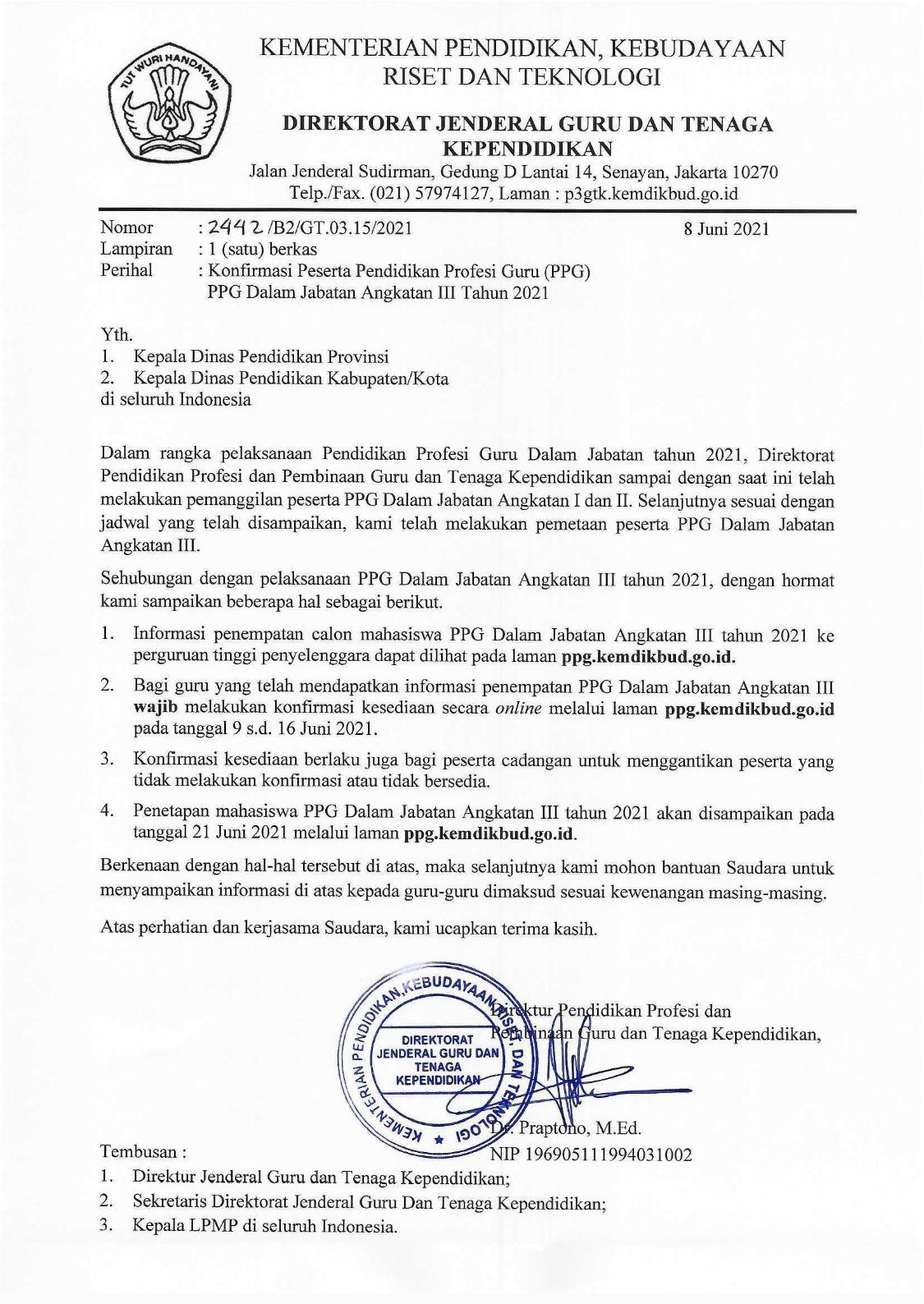 gambar Konfirmasi Peserta PPG Daljab Angkatan III Tahun 2021