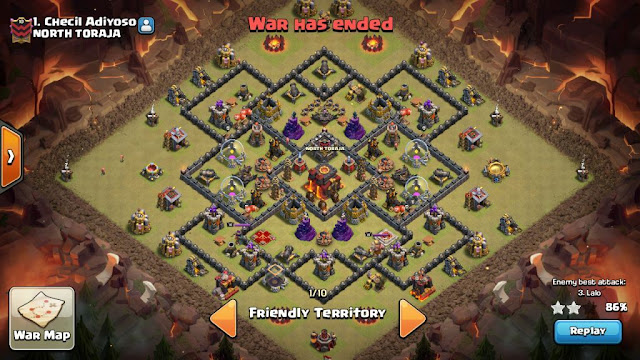 Base WAR TH 9 game COC dengan 1 Bomb Tower Level 3 susah di tembus