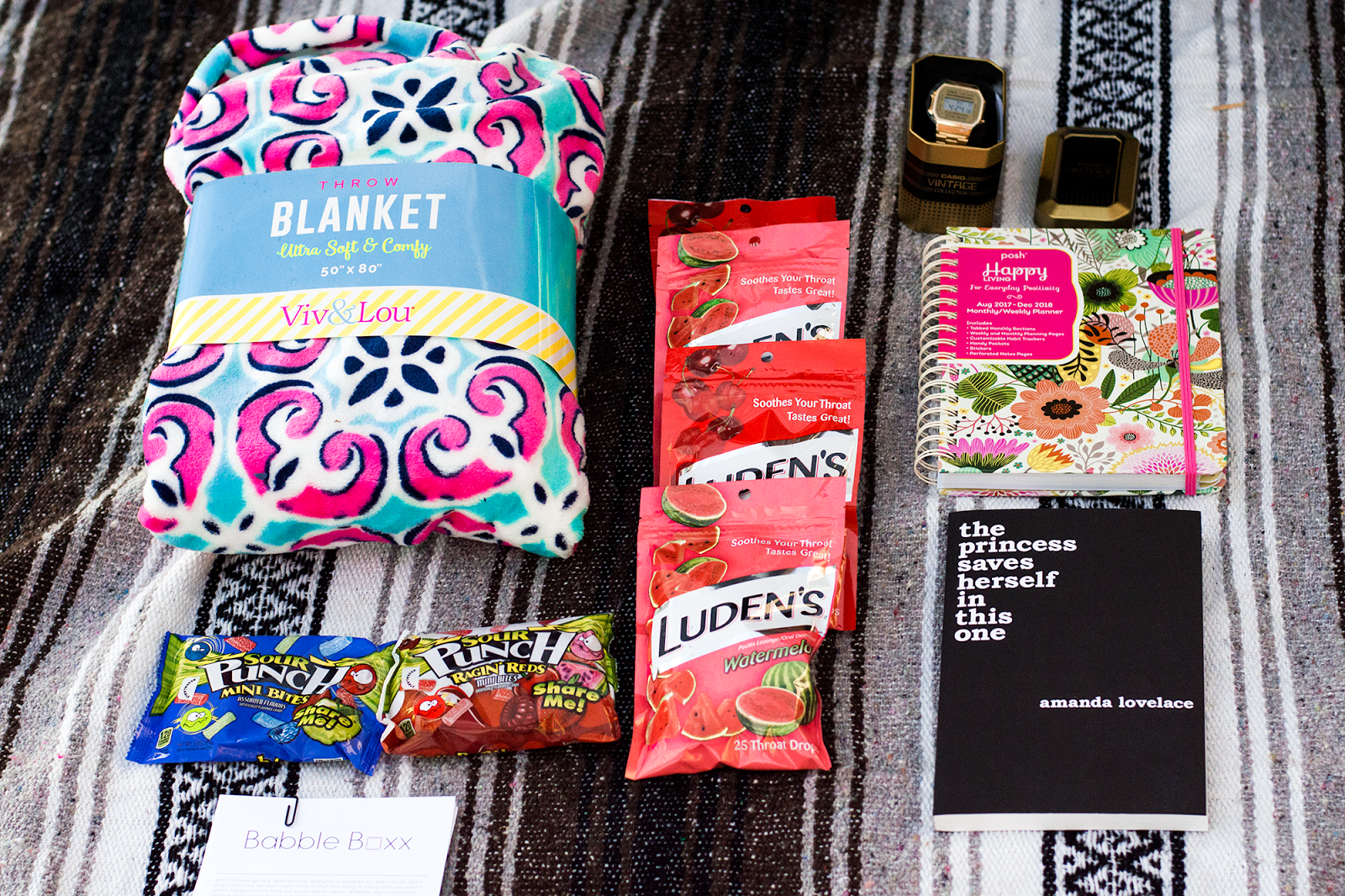 Viv and Lou Throw Blanket, EZneeds,Casio Vintage Watch, the princess saves herself in this one, Sour,  Punch Share Me! Mini Bites, Posh: Happy Living 2017-2018 Monthly/Weekly Planner Calendar, Luden's Throat Drops,