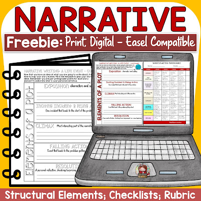 narrative digital writing freebie with easel by tpt