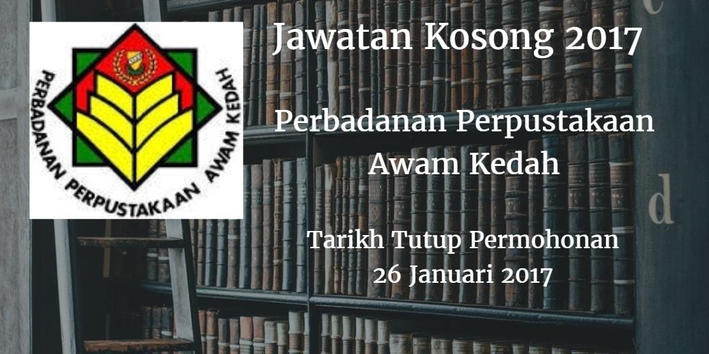 Jawatan Kosong Perbadanan Perpustakaan Awam Kedah 26 Januari 2017