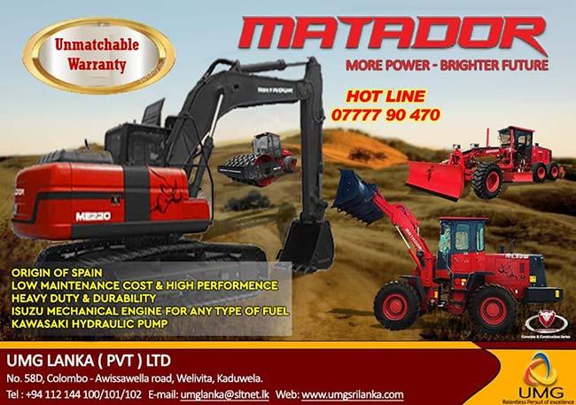 UMG Lanka | MATADOR Excavator, Road Roller, Motor Grader