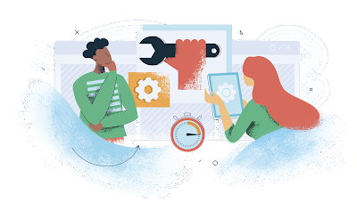 cartoon illustration of two people collaborating with technology