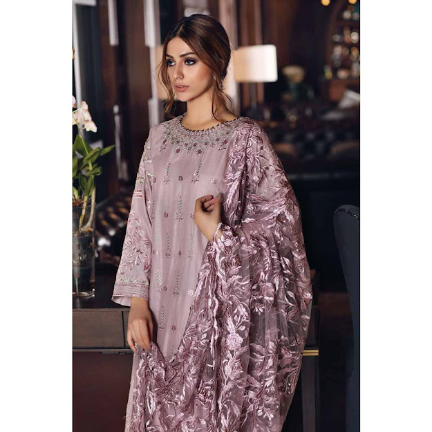 Gul Ahmed Mid summer collection purple color jacquard suit