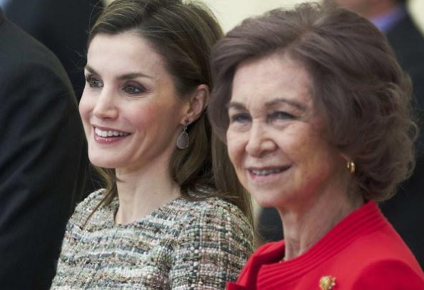 Queen Letizia wore Felipe Varela dress and wore Magrit Shoes in beige, Queen Sofia