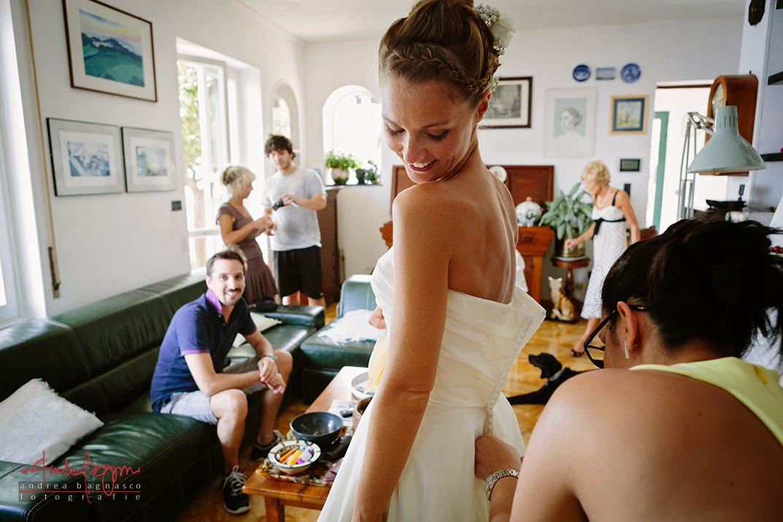 vestizione sposa Pieve Ligure