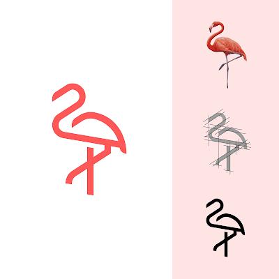 flamingo logo hv design