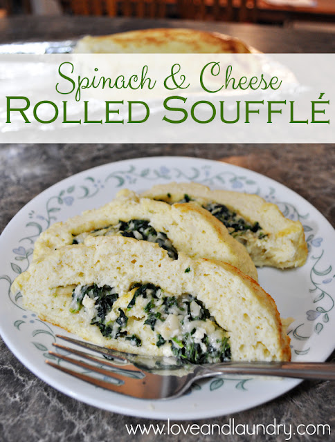 Spinach and Cheese Rolled Soufflé - this would make a delicous holiday breakfast! from www.loveandlaundry.com