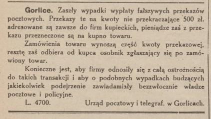 fałszywe przekazy Gorlice 1926