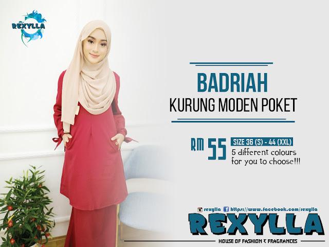 rexylla, kurung, kurung moden, kurung moden poket, badriah collection