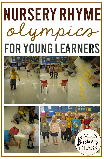 Nursery Rhyme Olympics activities and games for Kindergarten to wrap up our Nursery Rhymes unit with literacy & math activities