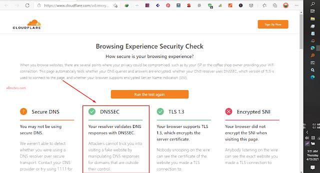 cek jaringan sudah Menggunakan DNS aman
