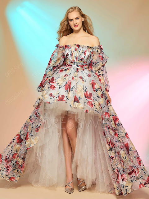 Cinderella Asymmetry High Low Print Off The Shoulder Long Sleeve Prom Dress