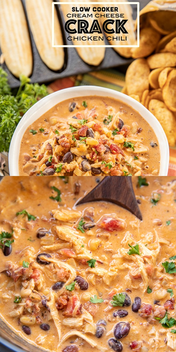 SLOW COOKER CREAM CHEESE CRACK CHICKEN CHILI #slowcooker