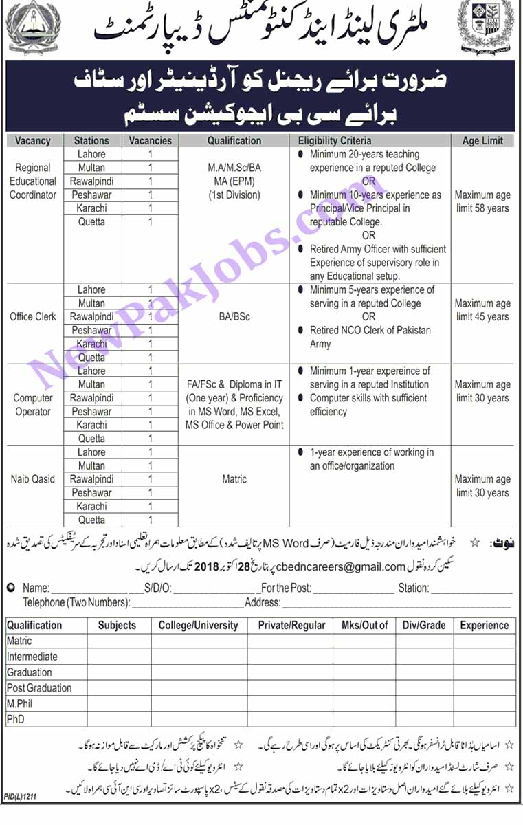 Military Land and Cantonments Departments, CB Education System Latest Jobs - 20 Oct 2018