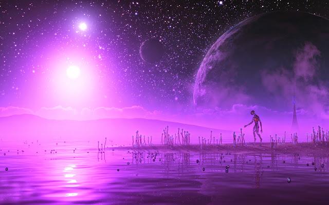 Alien Walking in Dreamy Planet Wallpaper