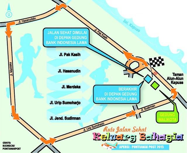 RUTE : Inilah rute Jalan Sehat Santai Keluarga APERSI-Pontianak Posti.  Silahkan dipelajari bagi yang ikutan.  Foto Asep Haryono