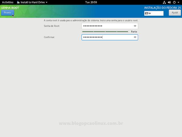 Crie a senha de root (de preferência com letras, números e caracteres especiais)