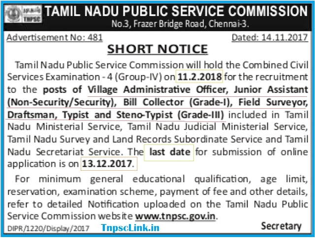 TNPSC CCSE 4 (Group IV) Exam Notification 2018