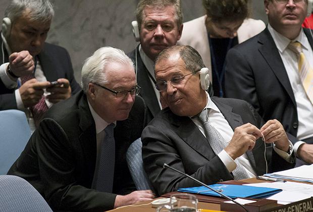 Виталий Чуркин и Сергей Лавров в штаб-квартире ООН