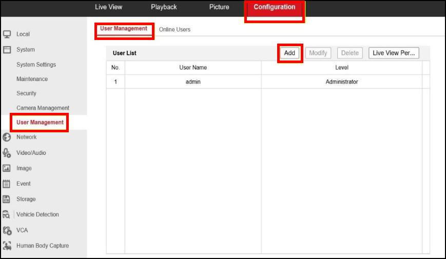 How to add multiple users to Hikvision and set the permissions