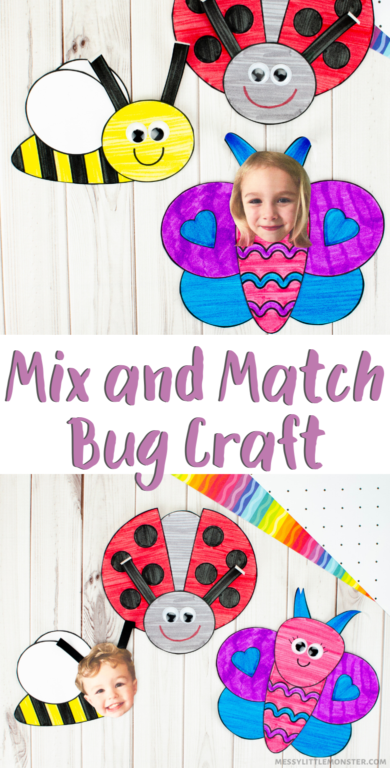 Mix and match bug crafts for kids.