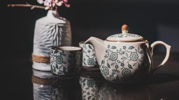 Vintage Retro Xícara, Chá, Bule, Porcelana