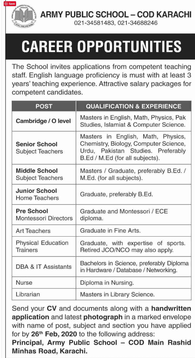 Jobs in Army Public School Cod Karachi 2020
