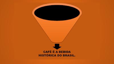 A imagem de fundo marrom claro e ao centro um funil que transmite a ideia de uma xícara cheia de café e abaixo está escrito a frase: café é bebida histórica do Brasil.