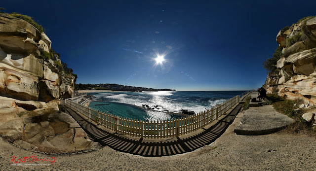 Bronte ocean pool, headland and beach in full 360VR photography by Kent Johnson Travel photographer, Sydney, Australia.