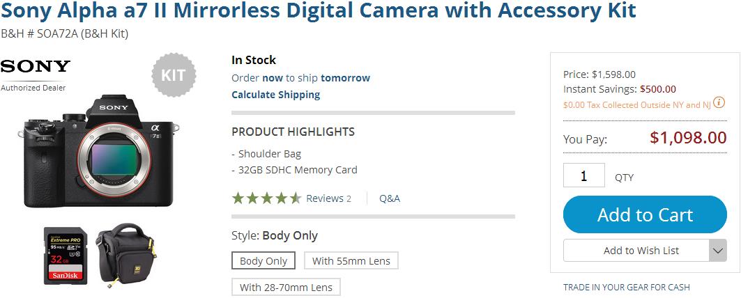 Скидка $500 на камеру Sony A7 II