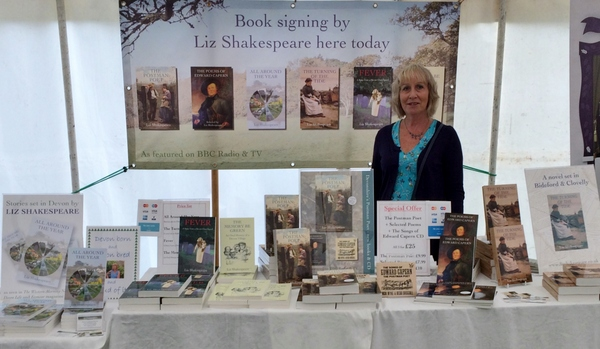 Devon author, Liz Shakespeare at the Mid-Devon Show 2019..