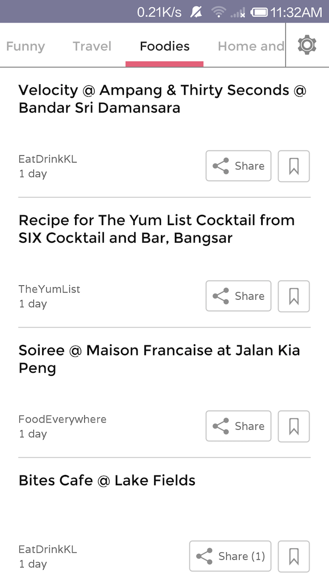 The foodies section of SPOT Malaysia News Mobile App