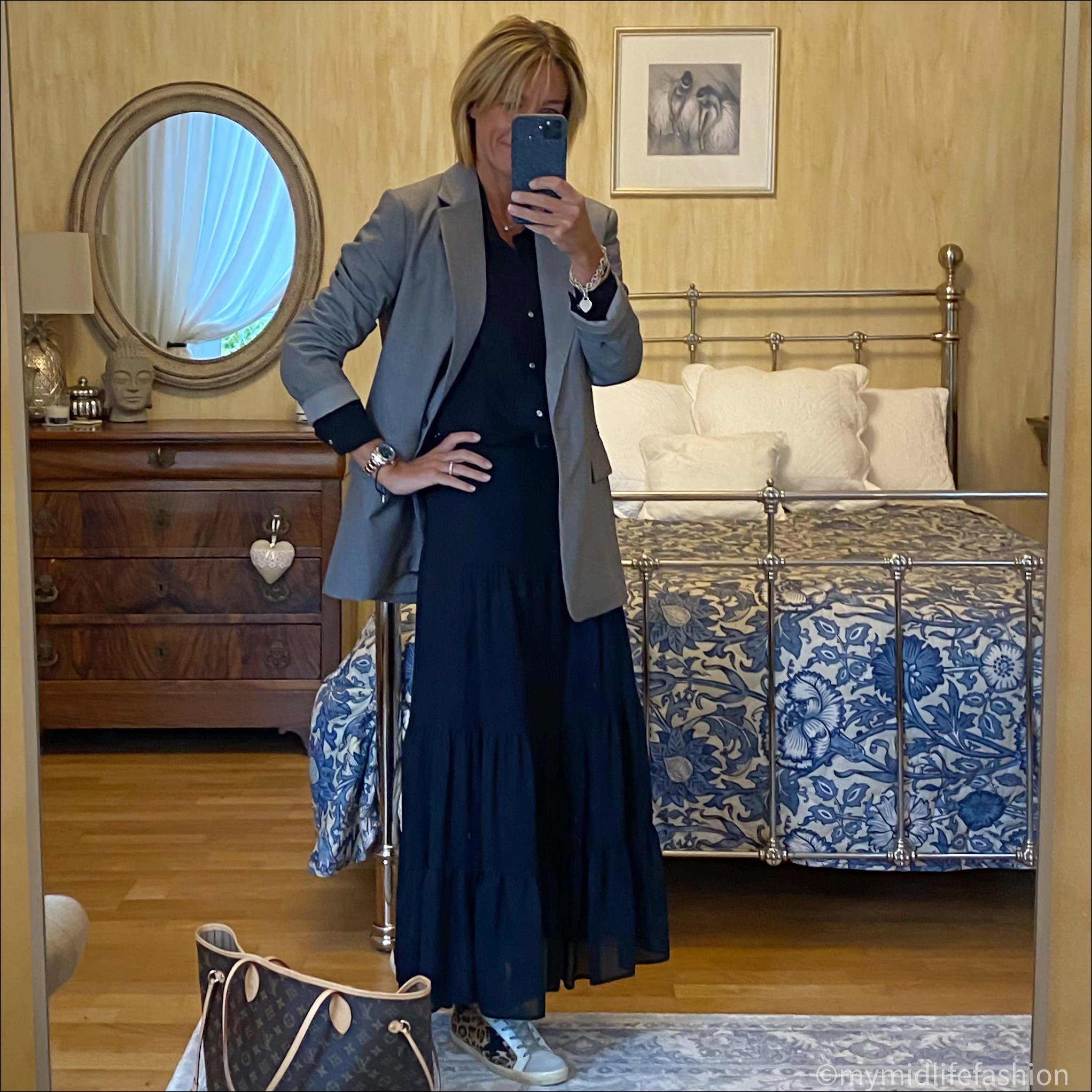 my midlife fashion, h and m oversized jacket, gina Ginette blouse, marks and Spencer tiered maxi skirt, Joseph studded belt, golden goose superstar low top leather leopard print trainers